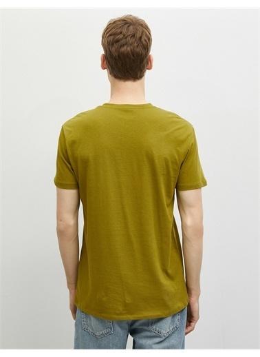 Koton Baskili T-shirt Kisa Kollu Bisiklet Yaka Yeşil